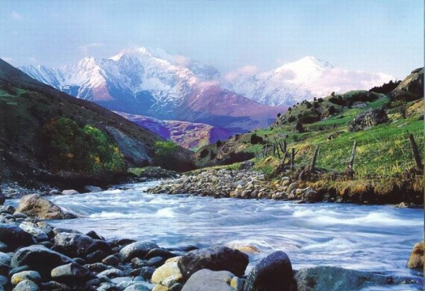 Рисунок закат в горах